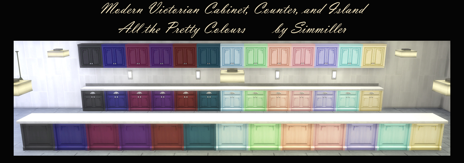 Mod The Sims - Modern Victorian Cabinet, Counter Isle, and