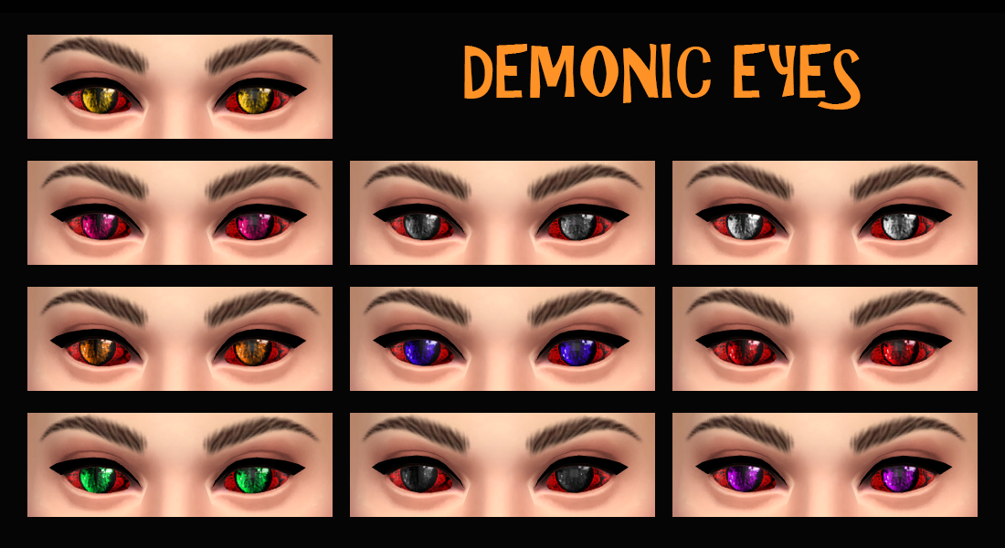 Mod The Sims - DEMONIC EYES as Face Paint - Base Game compatible