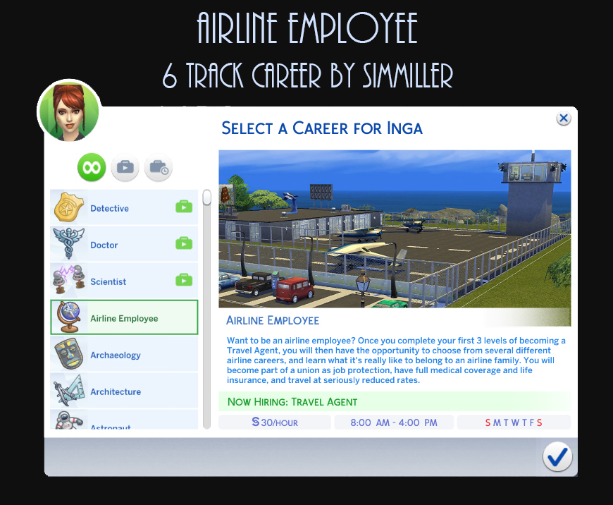 Mod The Sims - Airline Employee Career - 6 Career Tracks