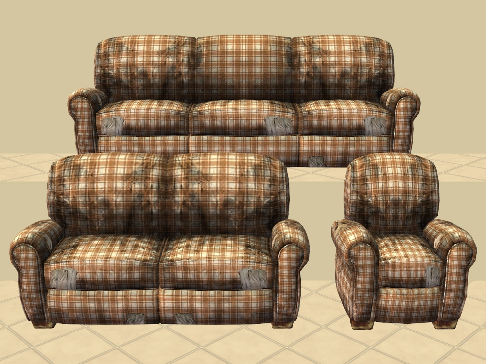 plaid sofa and loveseat mod the sims really distressed. Black Bedroom Furniture Sets. Home Design Ideas