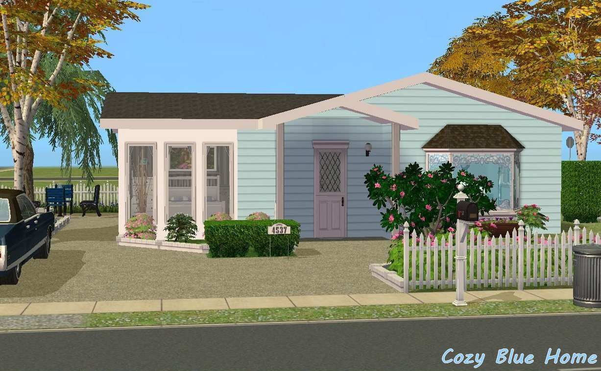 Mod the sims cozy blue home for 3 4 house