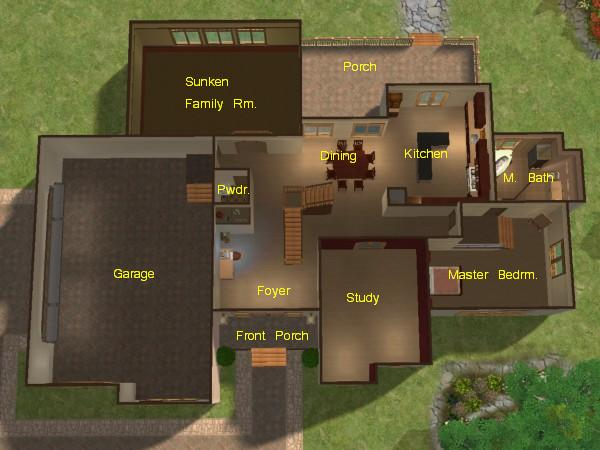 Mod the sims mountainview 3 bedroom 2 story home with for Sims house plans free