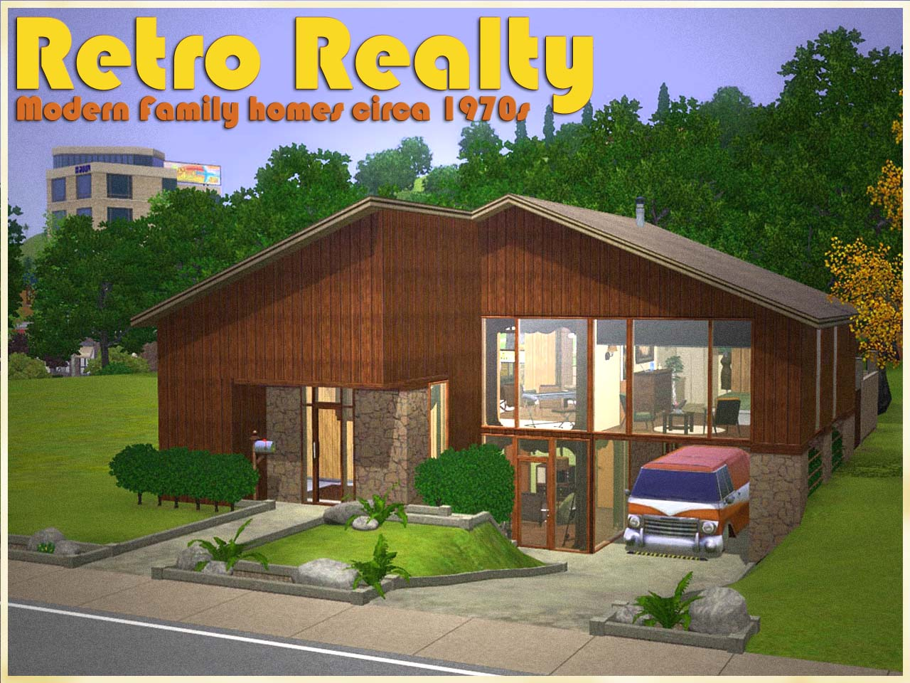 Mod the sims retro realty 39 70s modern family home for Classic house sims 3
