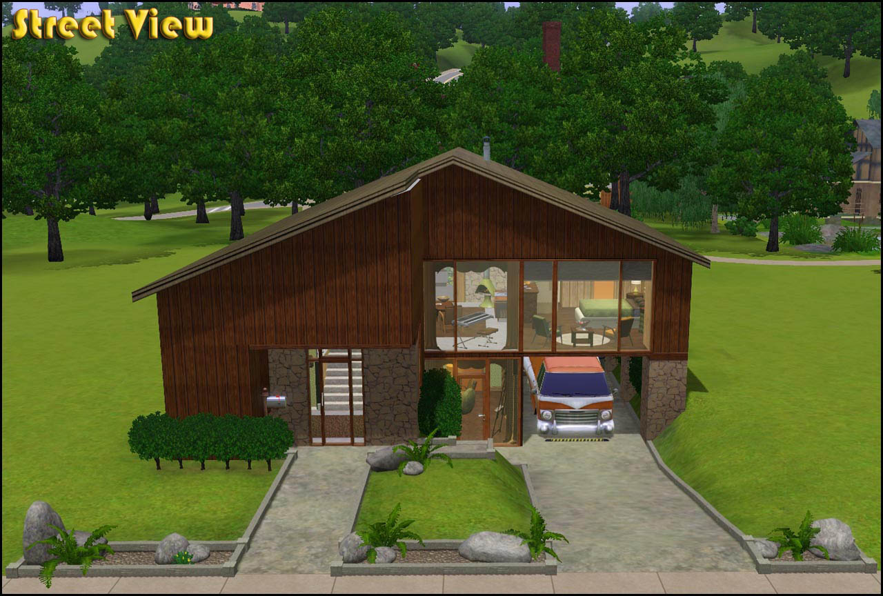 Mod the sims retro realty 39 70s modern family home for 70s house exterior