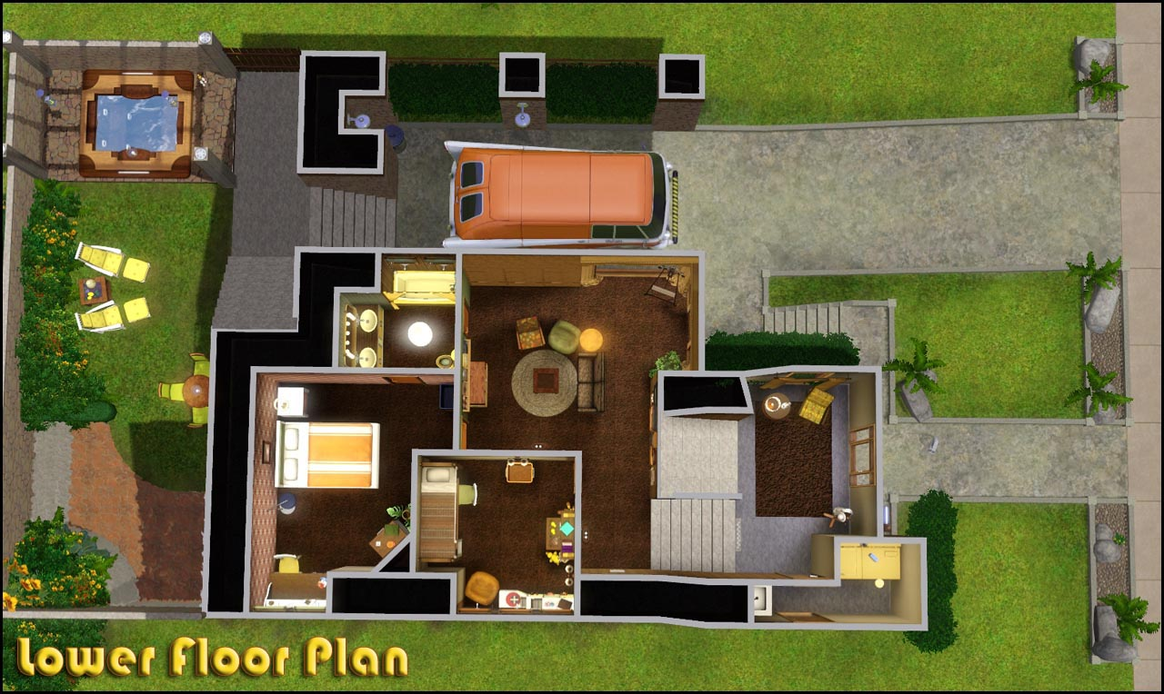 Sims 3 family house plans the image kid for Mansion floor plans sims 4