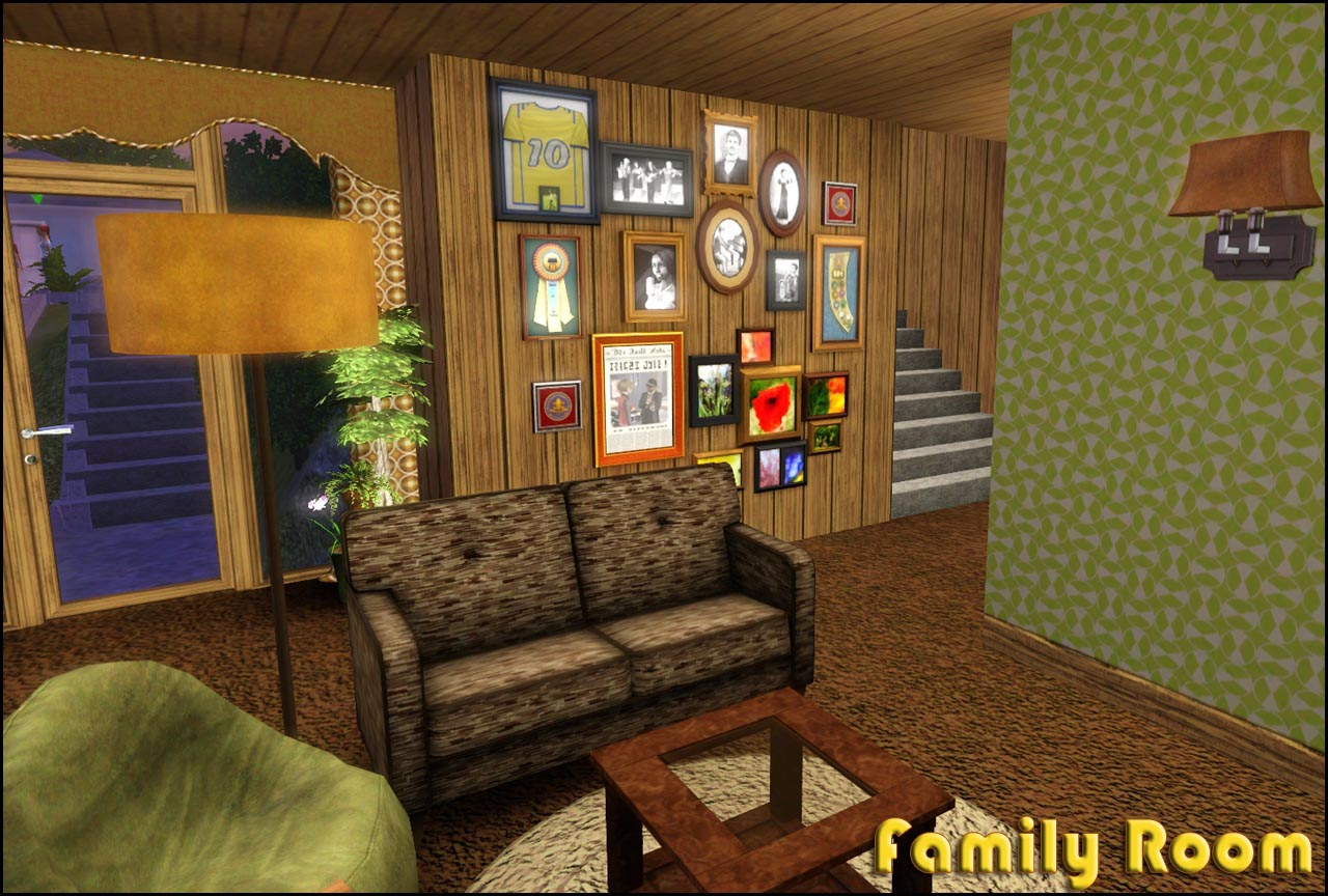 Mod the sims retro realty 39 70s modern family home for Living room design 70s