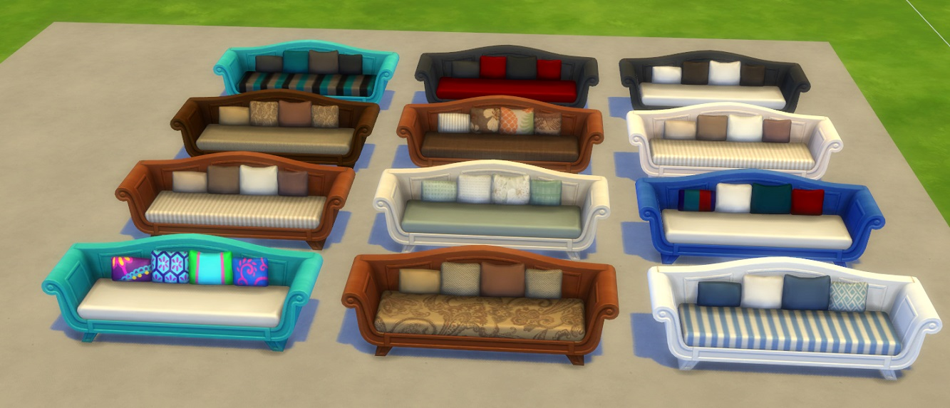 Mod The Sims 12 Recolors Of The Long Stretch Sofa