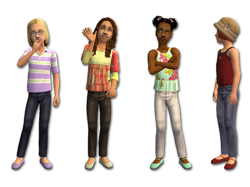 ... little Sim girls would like a few pairs for their wardrobe. So here are  eight new separates. All feature skinny-legged denim jeans and Mary Jane  shoes. - Mod The Sims - Skinny Jeans For Girls
