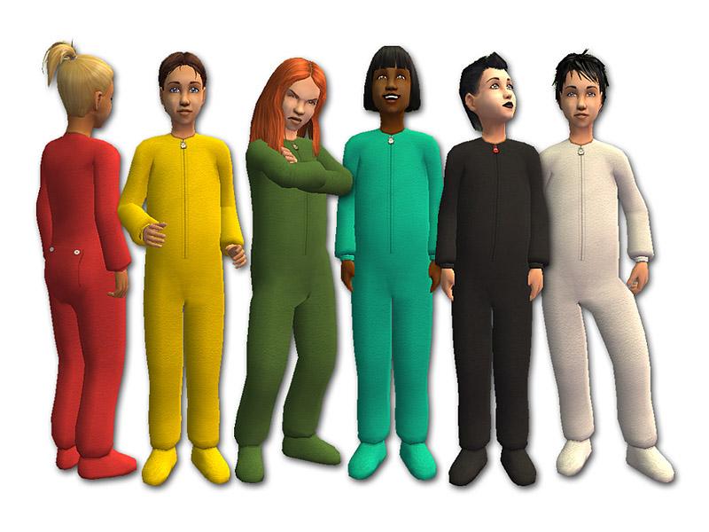 Mod The Sims - Fleece Pajamas for Kids - Recolours