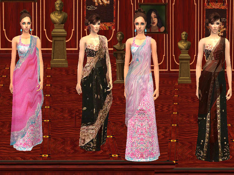Mod The Sims - Bridal Sarees (Indian Dresses) - For Adult/Young Adult