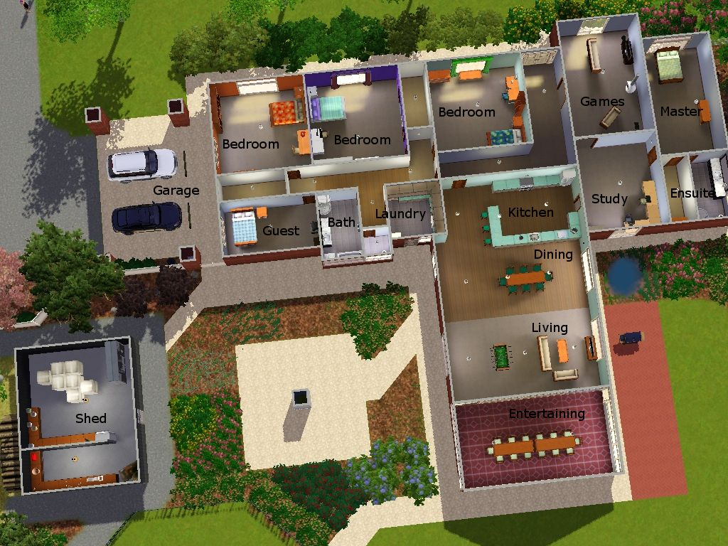 Sims 3 pool layouts best layout room for Cool home plans