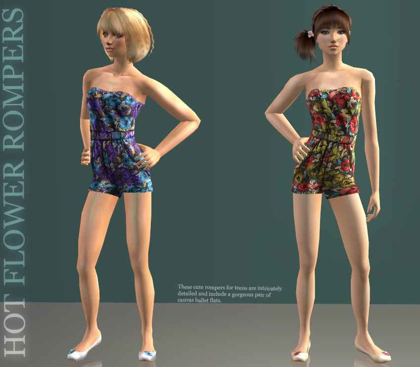 Mod The Sims - Teen Flower Rompers