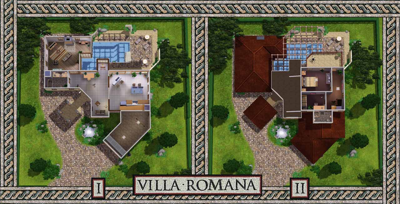 Mod the sims villa romana for Modern roman villa house plans
