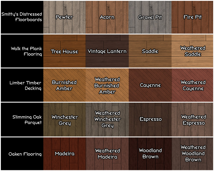 wood floor colors. Of course  each of the five floors comes in all 20 colors shown not just 4 used as examples that particular floor Mod The Sims Maxis Wood Floor Restoration Project