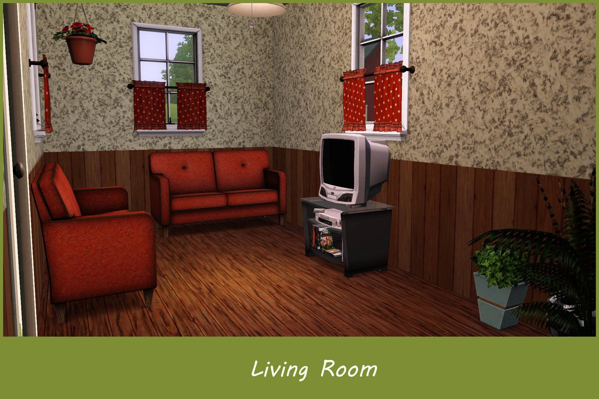 Mod the sims 10x10 tiny family home 4br 3ba no cc for Living room 10x10