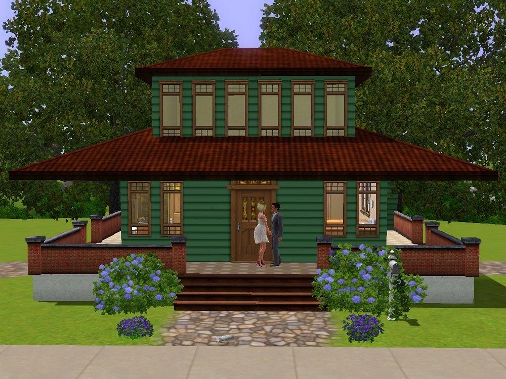 Mod the sims frank lloyd wright prairie style home for Frank lloyd wright style homes