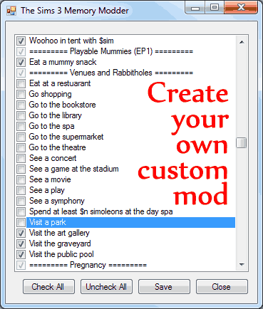 Mod The Sims - No (or fewer) automatic memories (with custom tool to