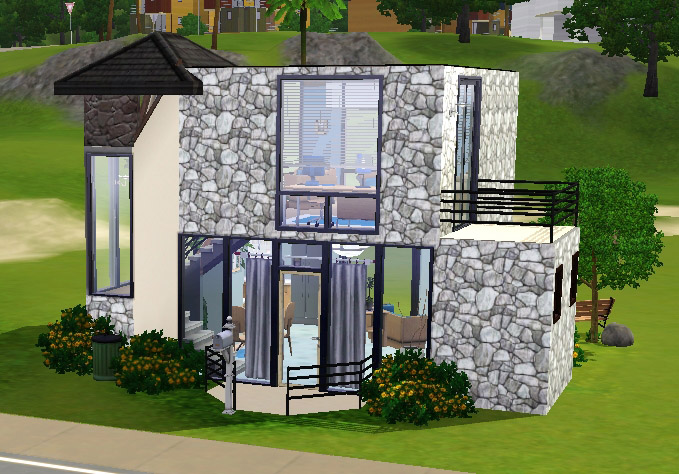Mod the sims small modern house for Pool design sims 3