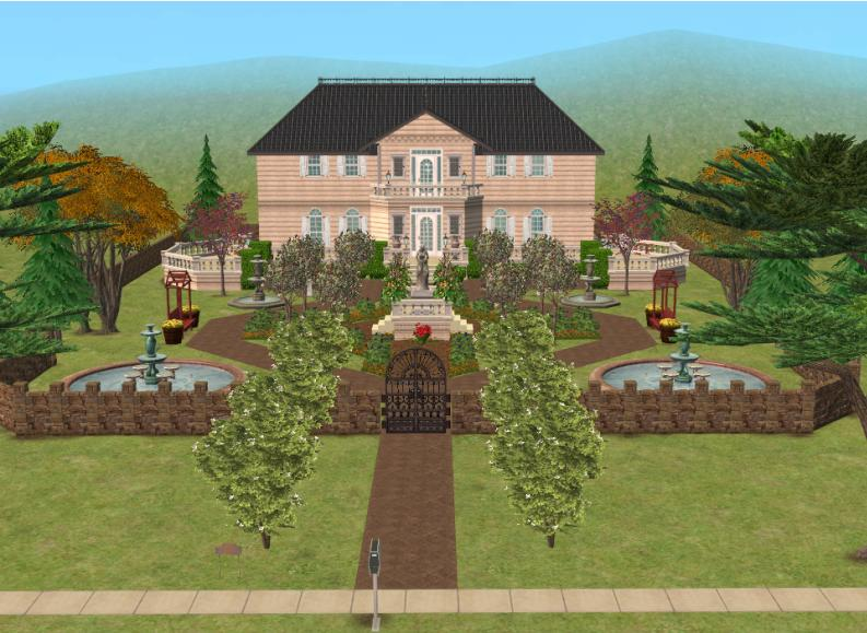 mod the sims country manor house with front garden. Black Bedroom Furniture Sets. Home Design Ideas