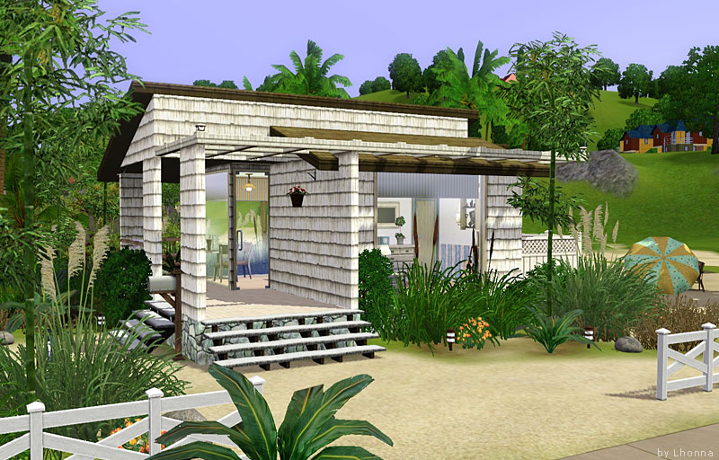 Mod the sims beach cabin small beach house for single for Small beach homes