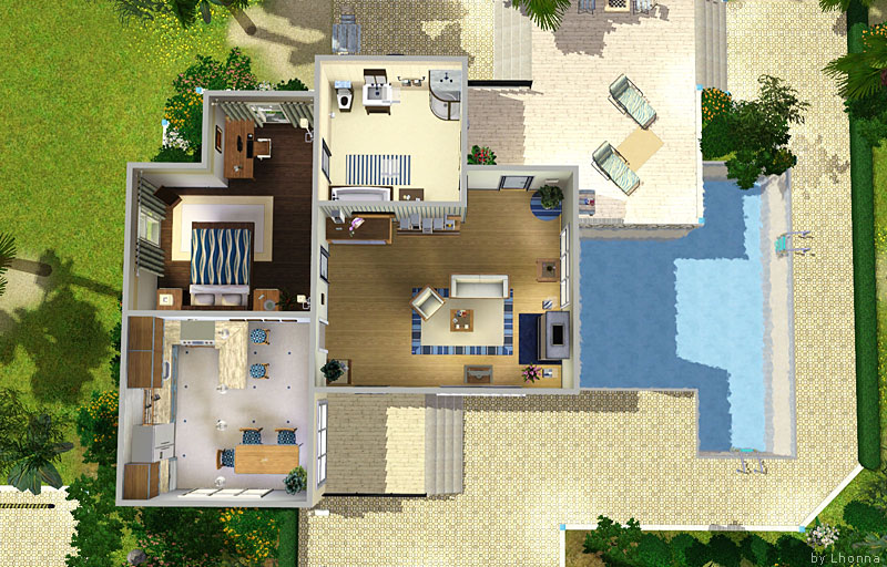 Mod the sims azure medium modern house in blue colors for Medium modern house