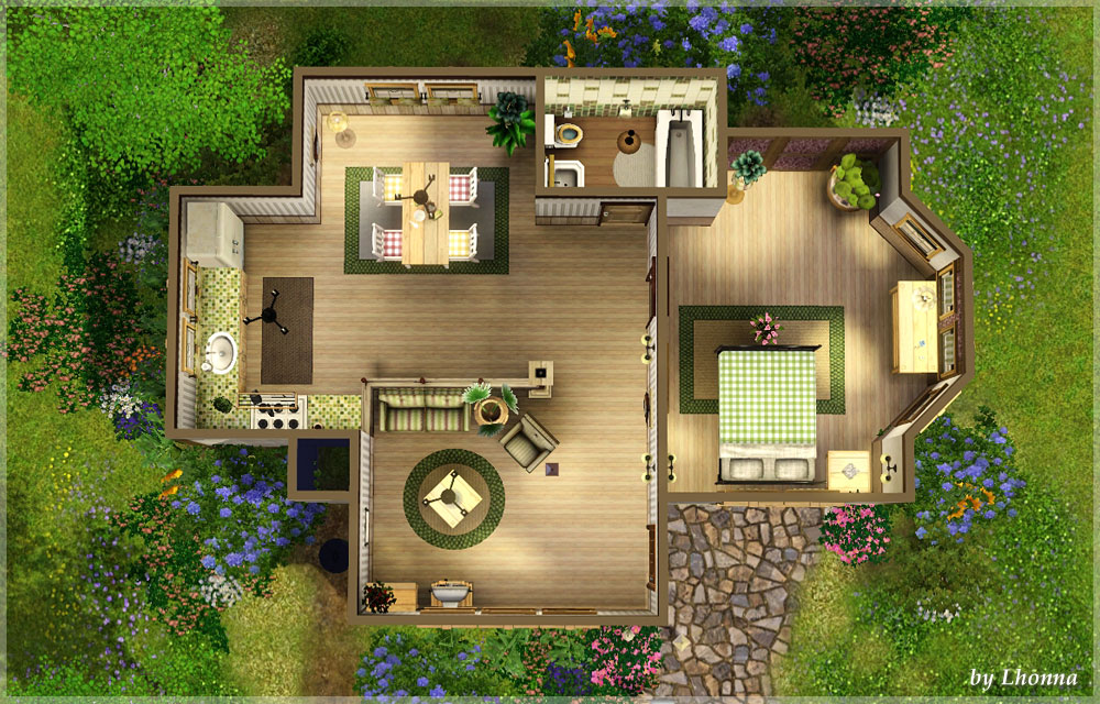 Mod The Sims Clover Cottage Starter Under 18 500 no CC