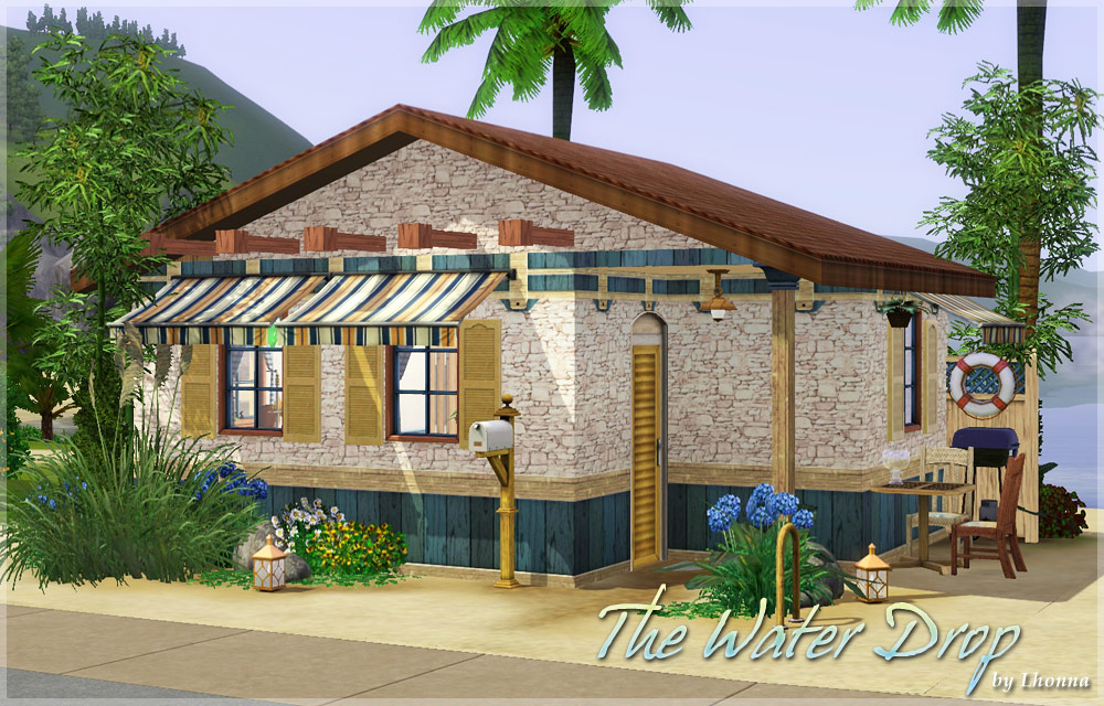 mod the sims - the water drop - tiny beach cabin (10x10 lot, no cc)
