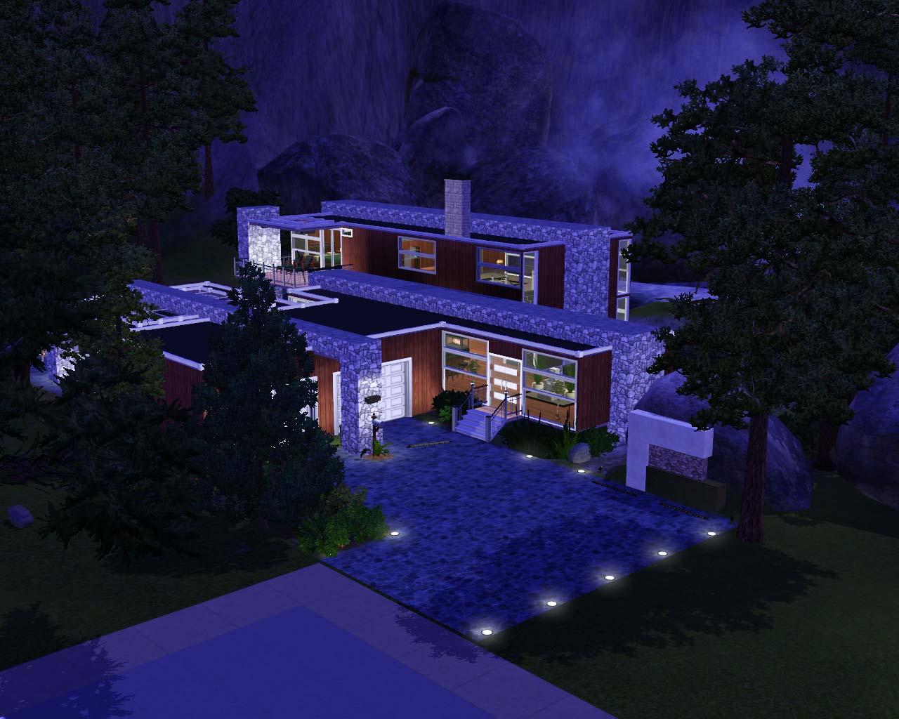 Mod The Sims Escarpment Escape A Modern Mountain Cabin