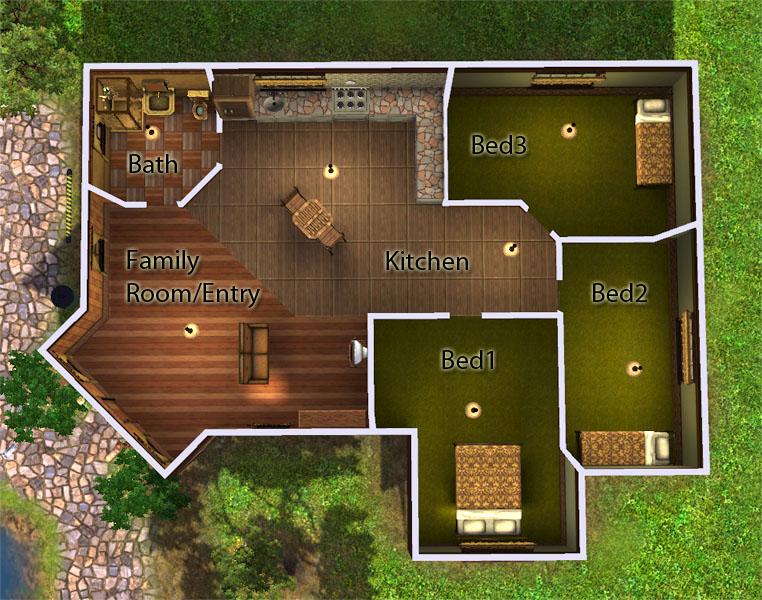 Mod The Sims Corner Lot Starter 3bd 1ba
