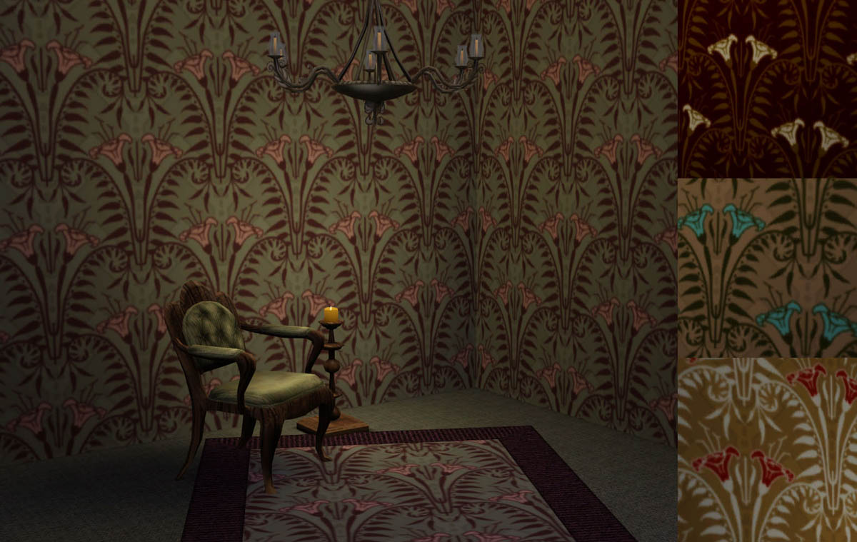 Foyer Wallpaper Game : Mod the sims haunted mansion patterns