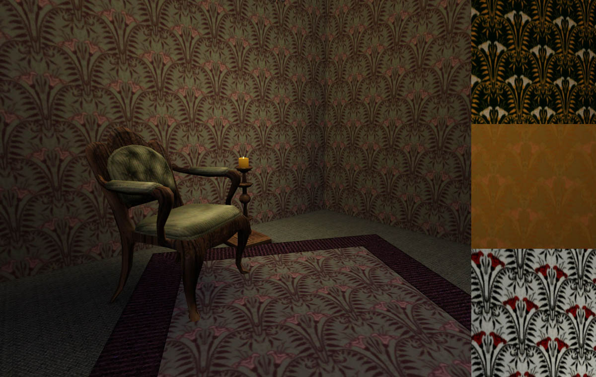 Haunted Mansion Foyer Wallpaper : Mod the sims haunted mansion patterns