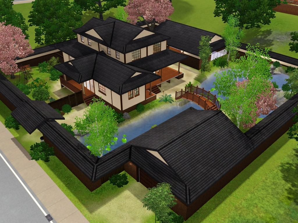 Mod the sims himeya inn another japanese house for Japanese house plans free