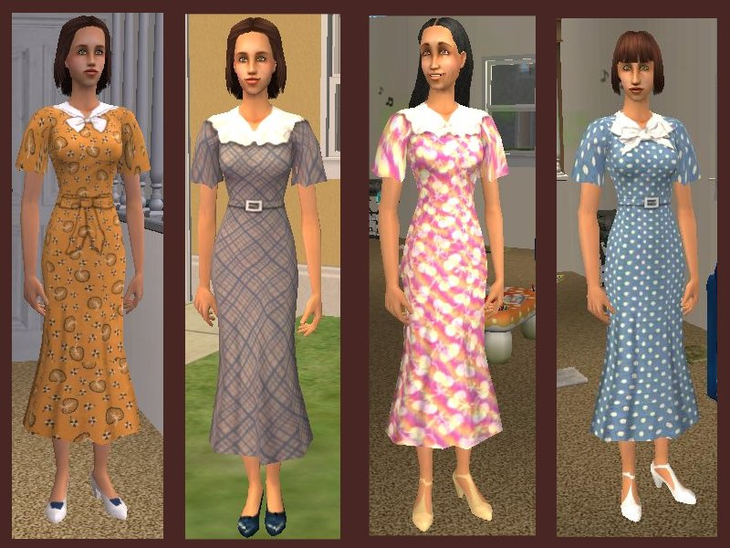Mod The Sims More Vintage Dresses For Adults Young Adults And Elders 1930s Style