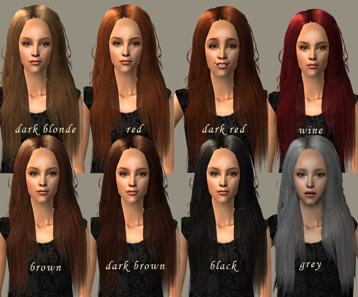 Mod The Sims Long Flowing Hair Recolours From The Little Mermaid