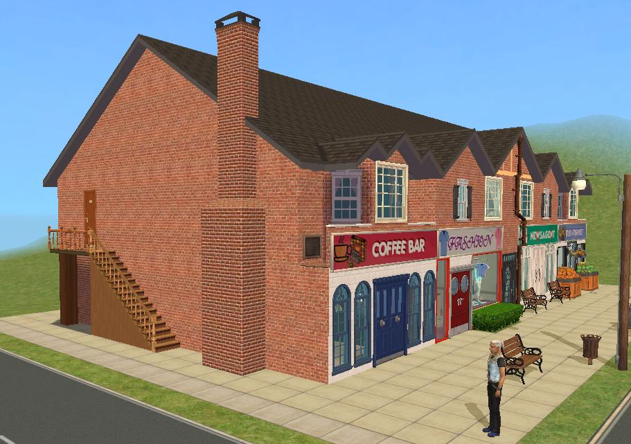 Mod the sims british style high street for Shop apartments