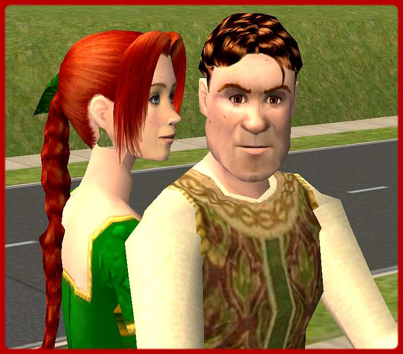 Shrek and Fiona  human form  from movie Shrek2 Shrek 3 Human