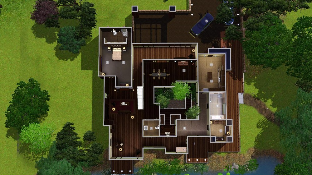 360085 on Sims 3 Modern Mansion Floor Plans