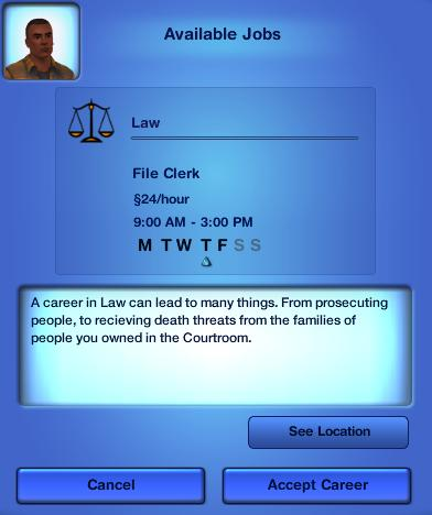 Mod The Sims - Sims 3 Custom Career: Law (From the Sims 2