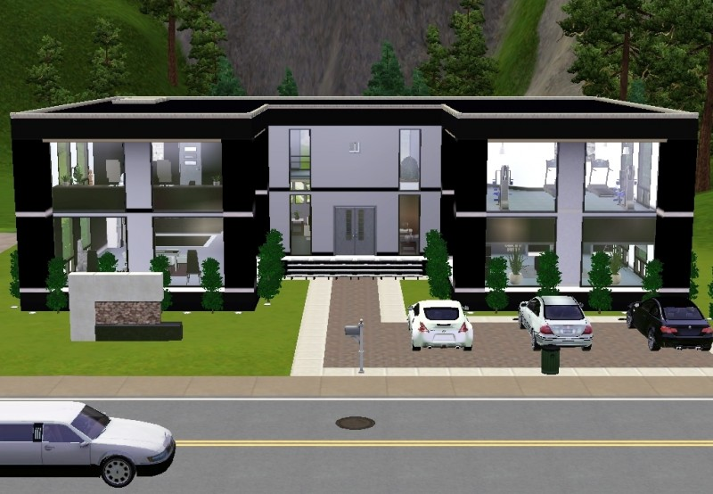 Mod The Sims - Ultra Modern Black n\' White House