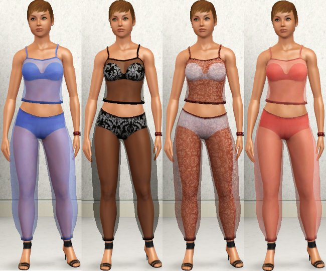 mod the sims see through clothing top with bra and harem pants. Black Bedroom Furniture Sets. Home Design Ideas