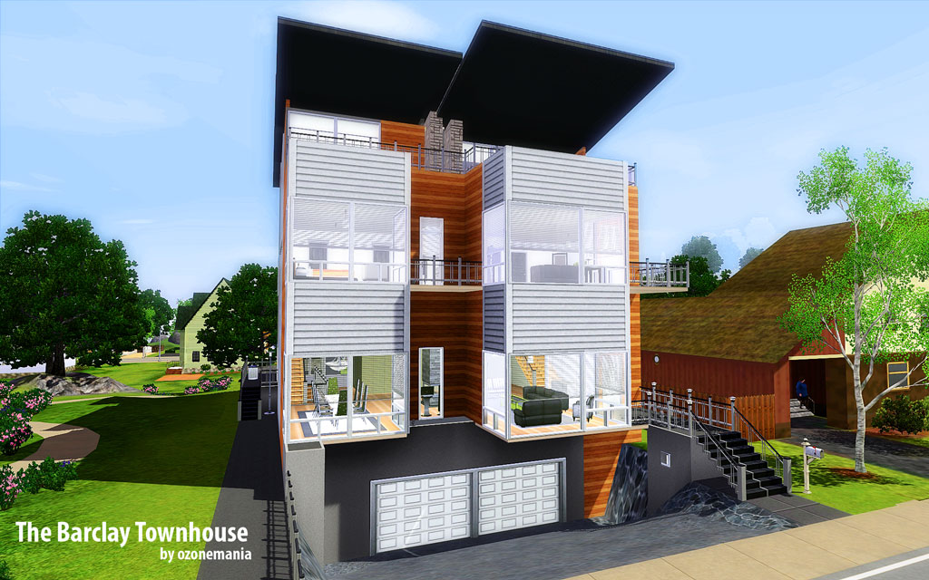 Mod the sims the barclay townhouse for Three storey townhouse design