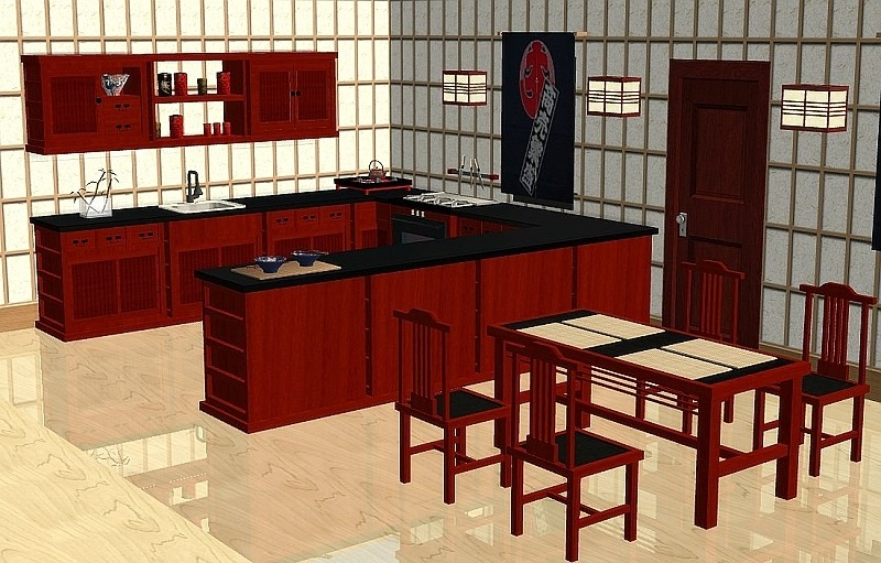 Mod The Sims Japanese Inspired Kitchen Set Sushi 13 New Meshes