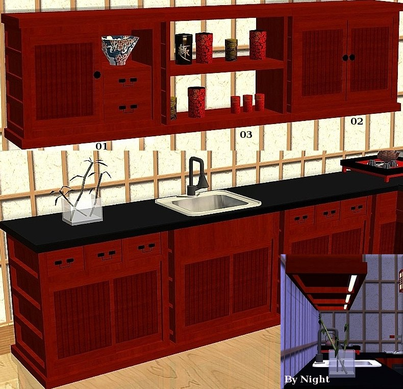 Mod The Sims Japanese Inspired Kitchen Set Quot Sushi Quot 13