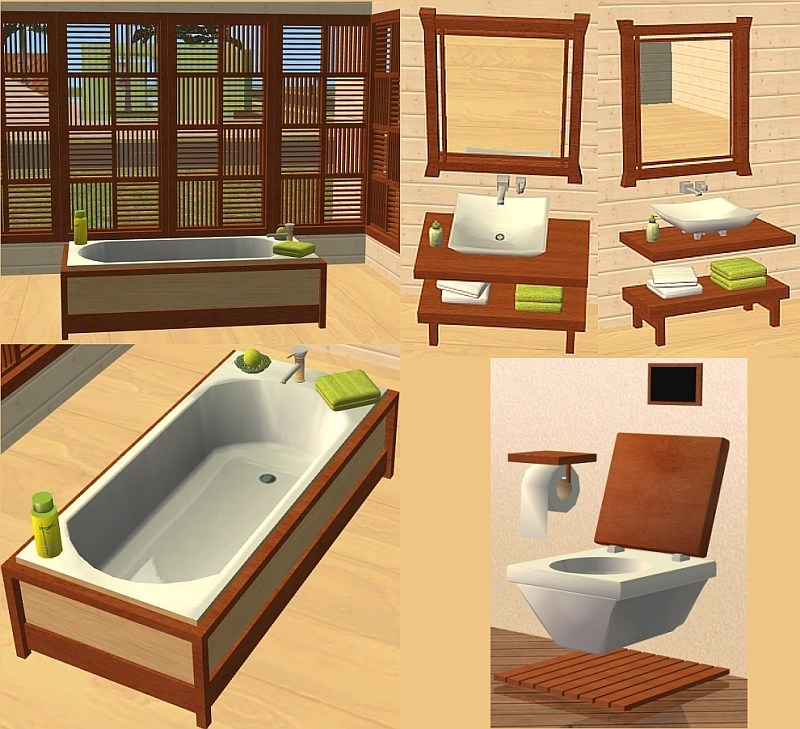 Mod The Sims - Japanese-inspired Bathroom set \