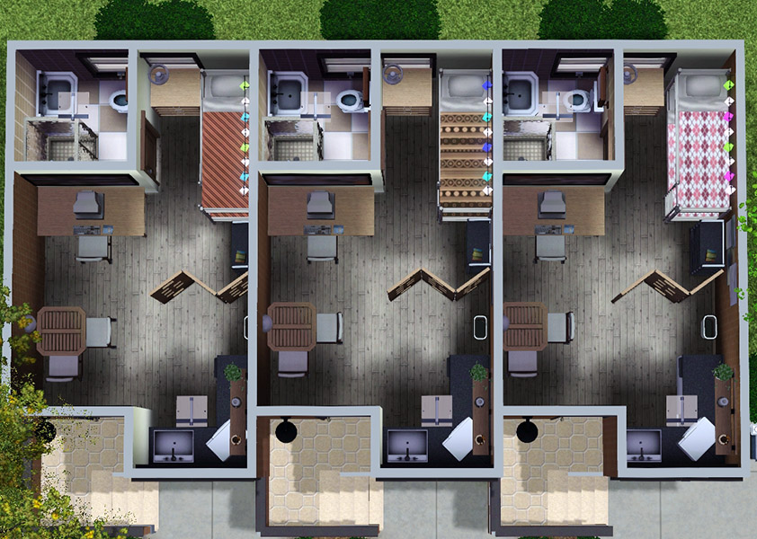 Mod The Sims Nona 10x15 3 Unit Apartment Building No