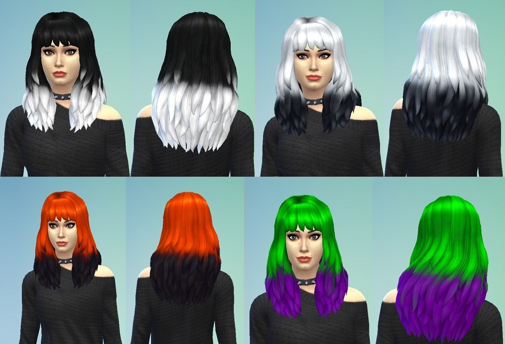 Mod The Sims Two Tone And Monochrome Ombre Gt Dipped Hair Recolors
