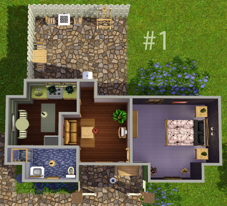 Mod The Sims Sally Set Of 3 Starter Homes Under