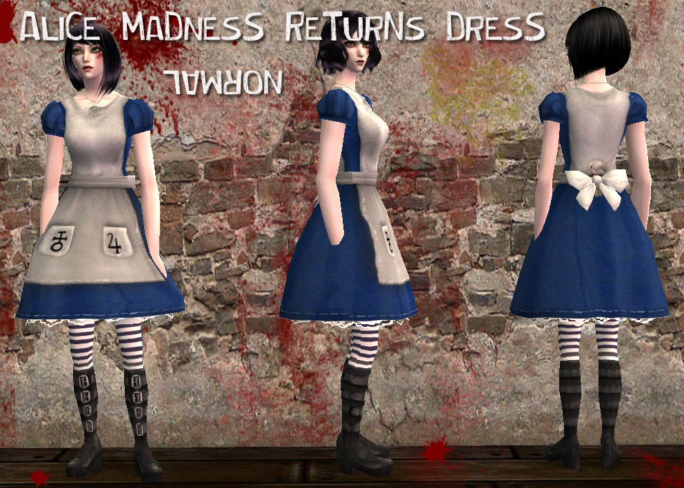 Mod The Sims - Alice Madness Returns Classic Blue Dress