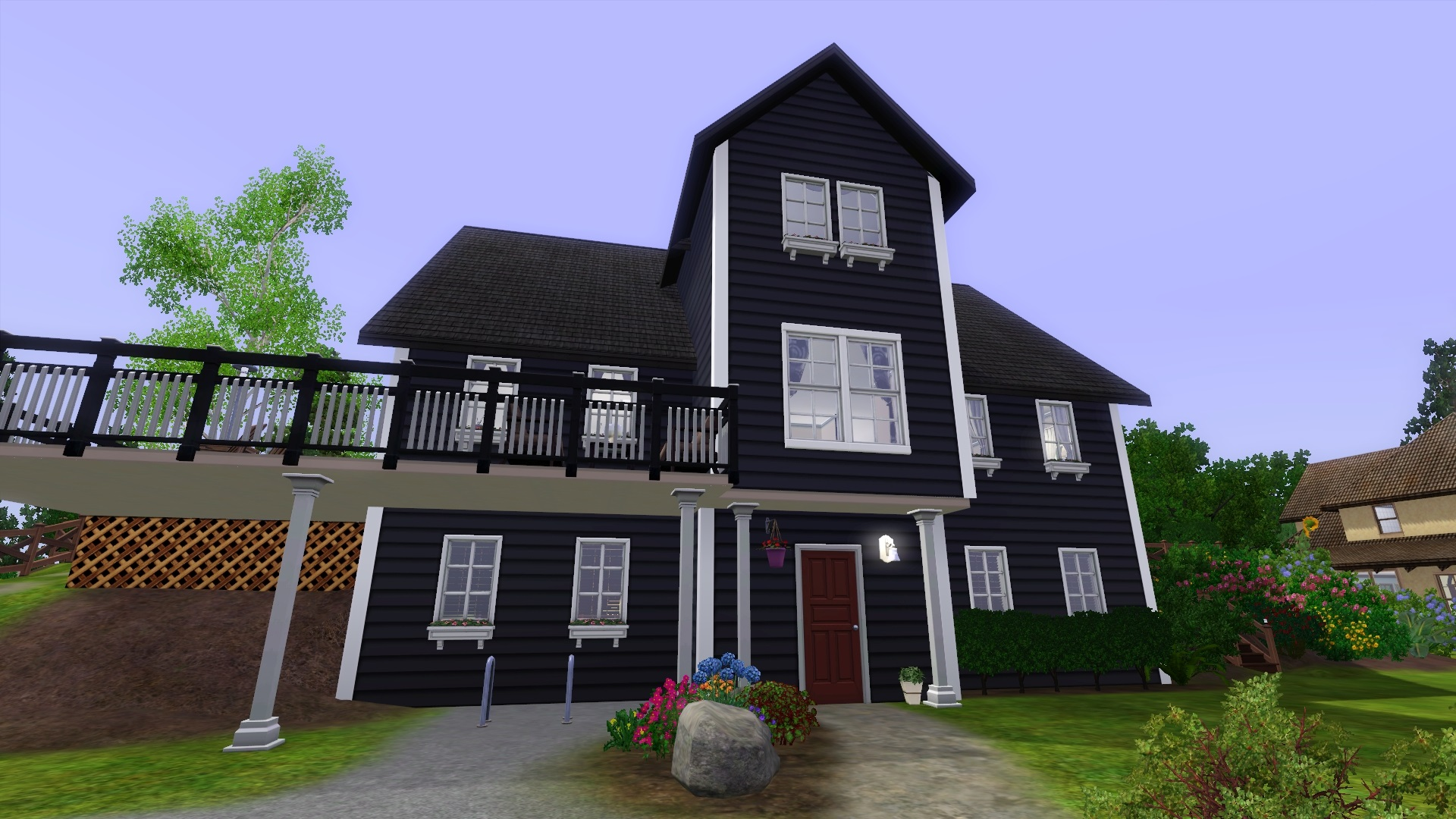 being tired of white houses i wanted the house to look different but not stand out too much so i painted it black with some white trim