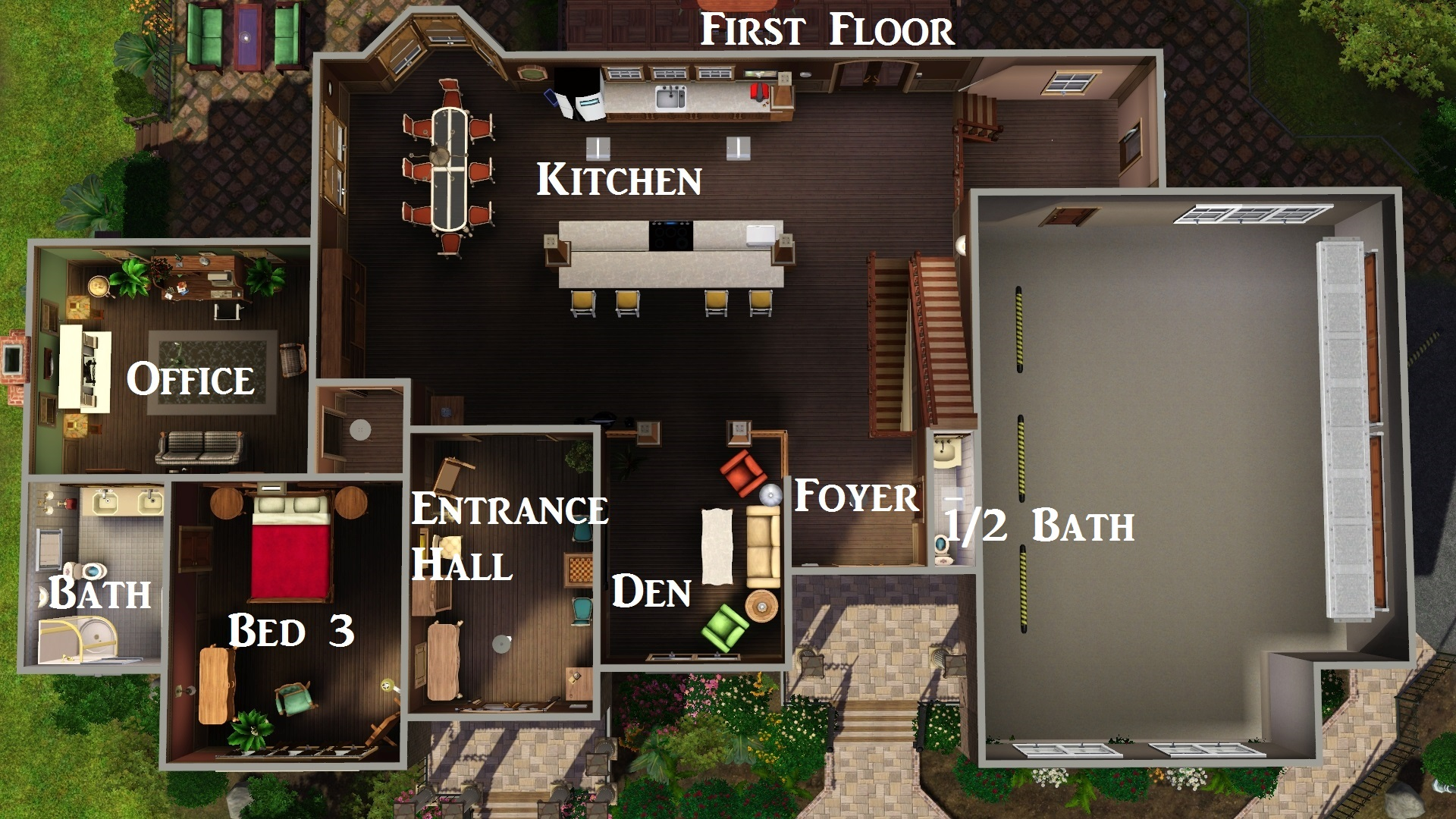 Sims 3 legacy house floor plan